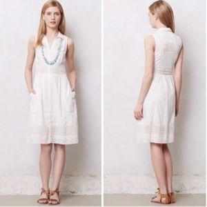 Anthropologie Maeve White Swiss Dot Dress